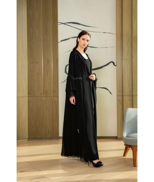 Modern black abaya with pleated skirt ...