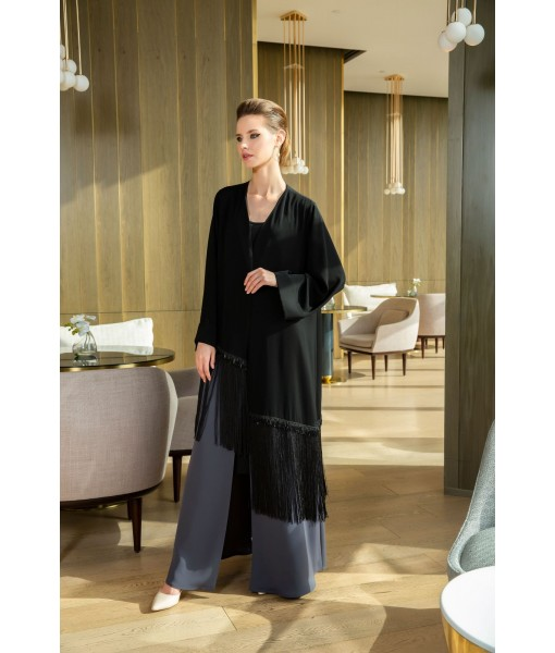 Two tone abaya with fringe details
