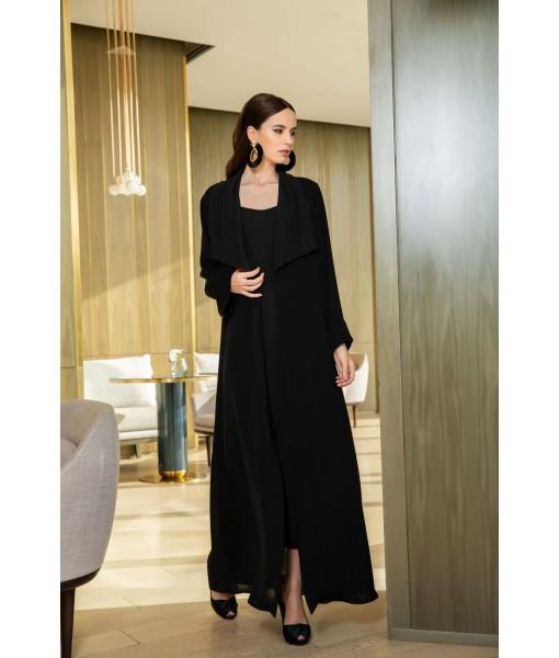 black coat style abaya with pleat ...