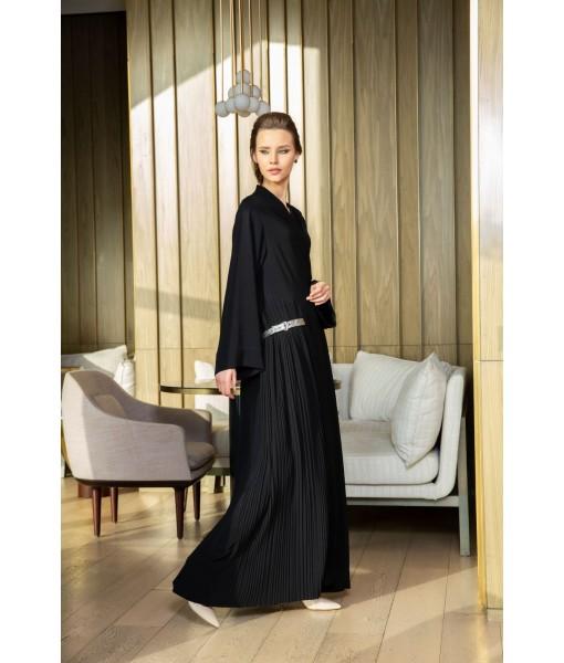 classic black abaya with metallic leather ...