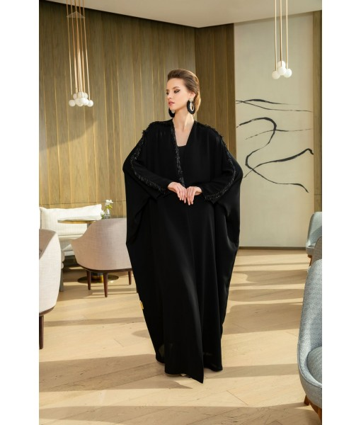 BLACK CLASSIC ABAYA WITH EMBELLISHED TRIM ...
