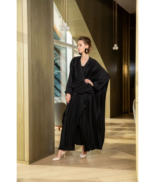 asymmetric pleated satin abaya in black ...