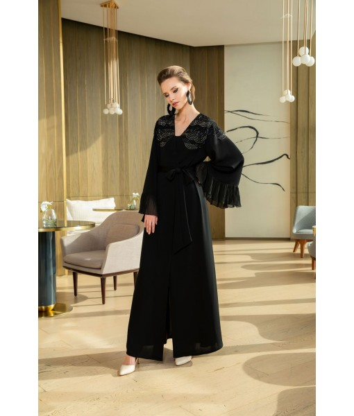 Belted black abaya with embellishment