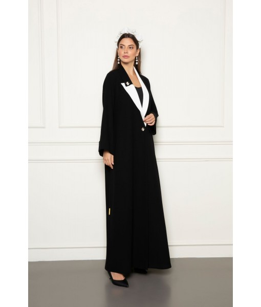 Black abaya with contrast asymmetrical collar ...