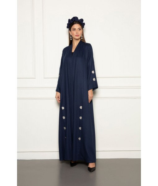 Navy linen abaya with overlapped pleats ...