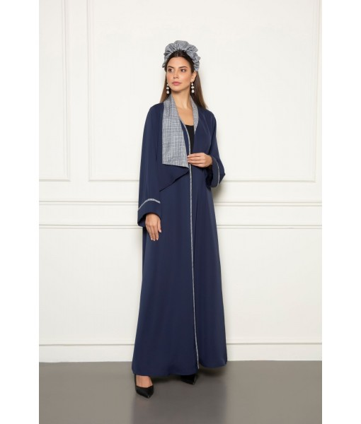 Navy abaya with classic asymmetrical plaid ...