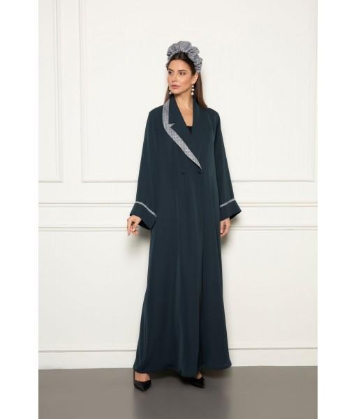 Classic double breasted coat style abaya ...