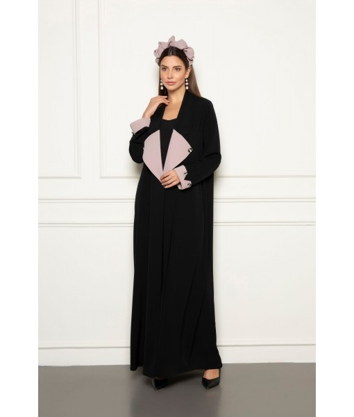 Black abaya with long wide classic ...