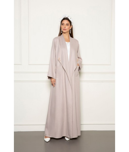 Soft beige linen abaya with wide ...