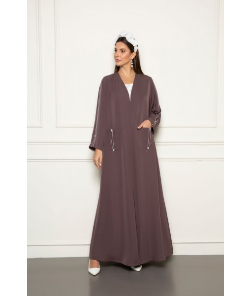 Classic abaya with top stitched details