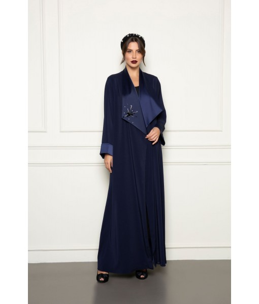Classic navy abaya with wide collar ...