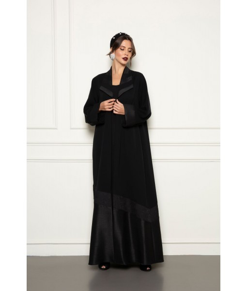 Black classic abaya with cuts details ...