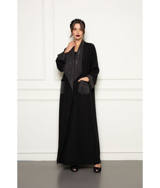 Black abaya with wide sequined collar ...