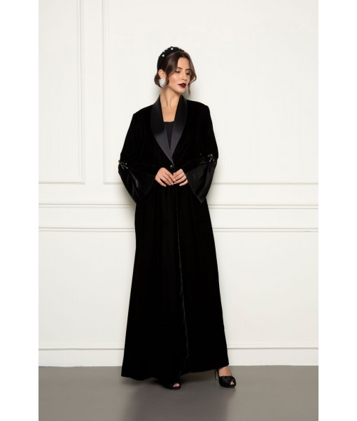 Black velvet abaya with shawl collar ...