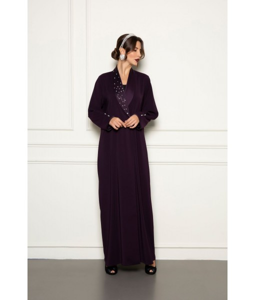 Plum abaya with embellished shawl collar ...
