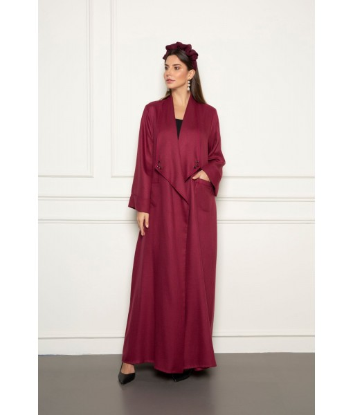 Soft maroon linen abaya with wide ...