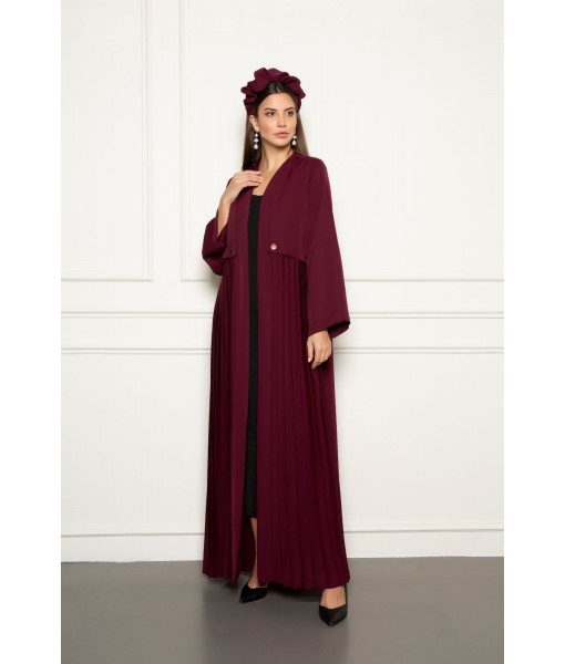 Pleated trench coat style  abaya ...