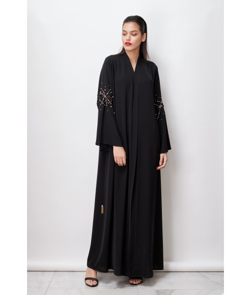 Black abaya with flared sleeves and ...