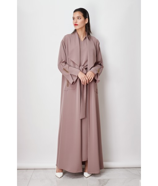 Wide collar Light Taupe abaya with ...