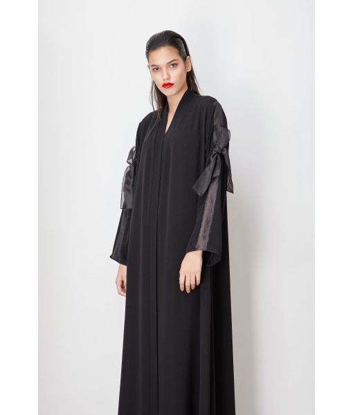 Black abaya with organza bow knot ...