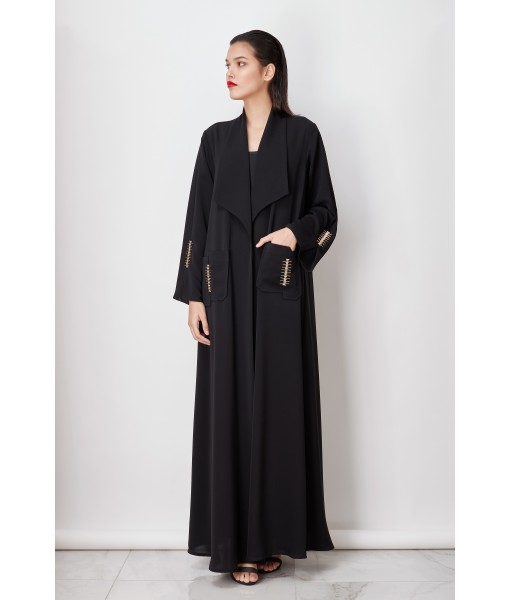 Wide collar black abaya with gold ...