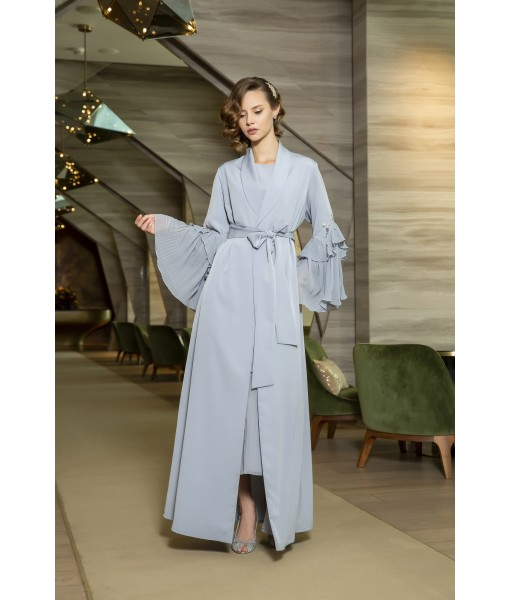 Pastel blue abaya with waist band ...