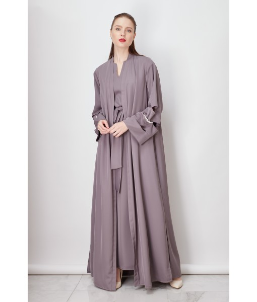 Gray abaya with pearl details and ...