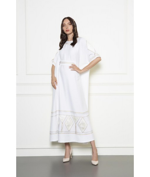 White Kimono style kaftan with fitted ...