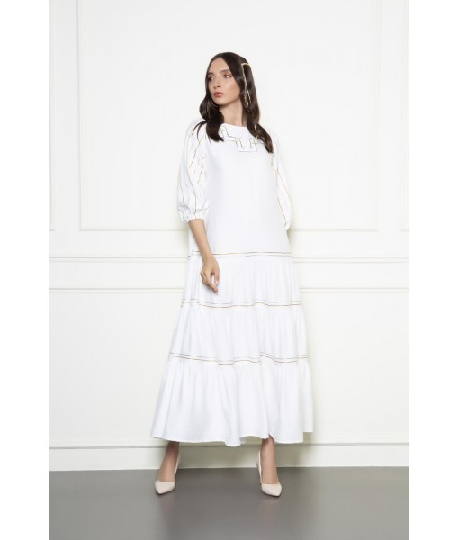 White linen dress with metallic thread work
