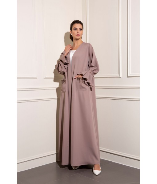 Classic abaya with hand beaded pockets ...