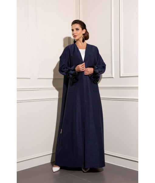 Navy blue shantung abaya with pleats ...