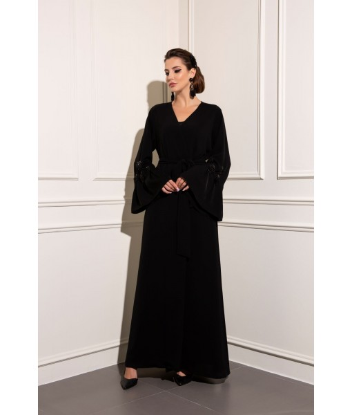 Beaded Tassel sleeve abaya with belt