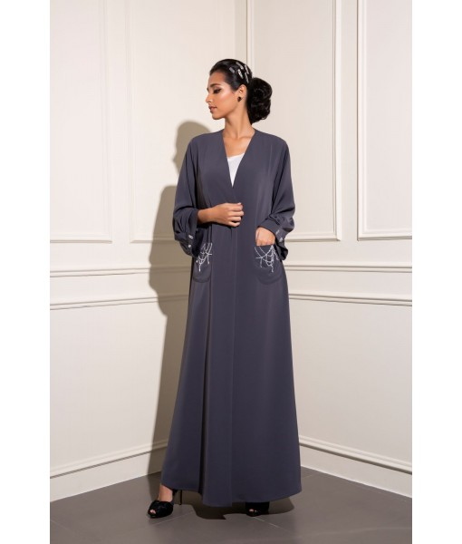 Classic Gray abaya with hand embellished ...