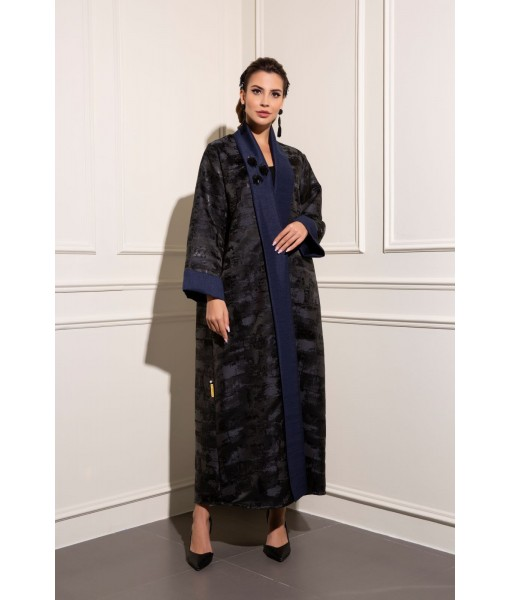 Patterned jacquard abaya with navy shawl ...