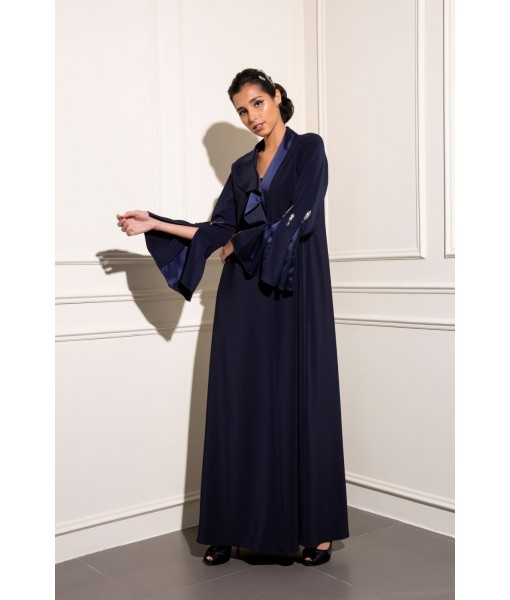 Contemporary navy asymmetrical collar abaya with ...