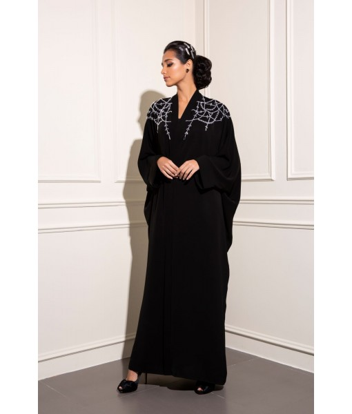 classic black farasha abaya with chandelier ...