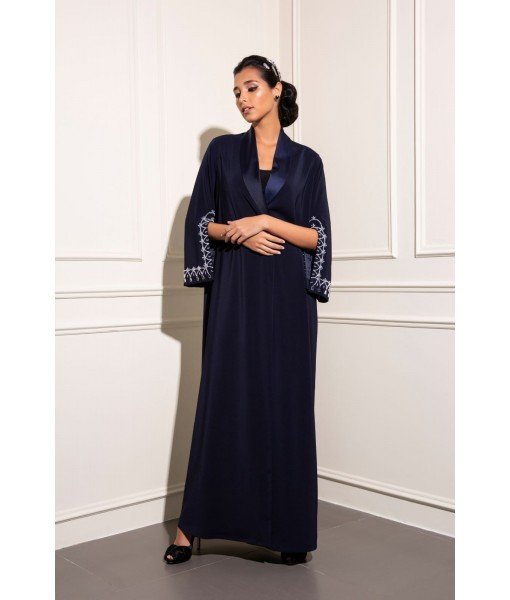 Navy Tuxedo abaya with hand embellished ...