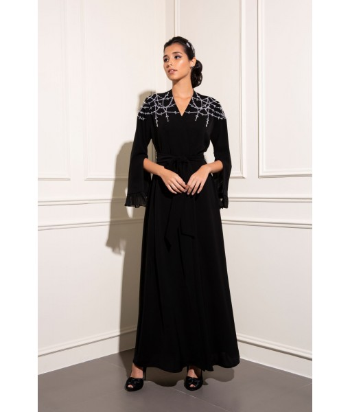 Chandelier hand embellished abaya with pleated ...