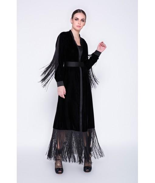 Sloane- velvet fringe abaya